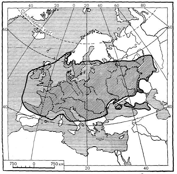 Карта 11. Распространение черешчатого дуба.